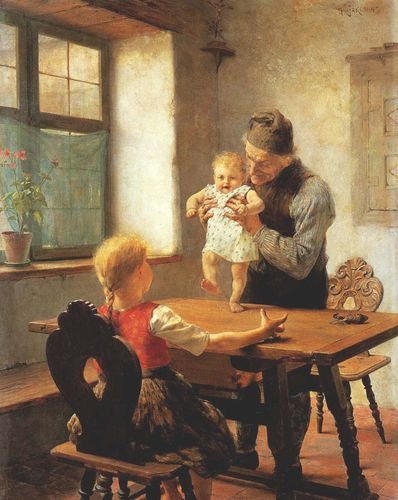 Gemälde The First Steps von Georgios Jakobides (1889)